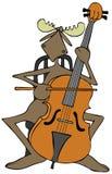 Älg som spelar en violoncell royaltyfri illustrationer