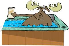 Älgen i ett varmt badar royaltyfri illustrationer