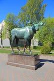 Älgstaty - ett stadssymbol Gusev Gumbinnen Fotografering för Bildbyråer