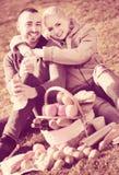 Älska angenäma par som pratar som ha picknicken Arkivbilder