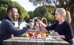 Älska barn koppla ihop att dricka vin och samtal på picknick Royaltyfria Foton