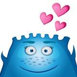Älska det blåa monstret med hjärta på en svart bakgrund Blått roligt gulligt litet le monster för vänskapsmatch också vektor för  stock illustrationer