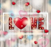 Älska det röda bokstavskortet med den realistiska ljusvektorn Lycklig valentindaghälsning stock illustrationer
