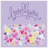 Älska dig bakgrunds- och hälsninginskriften Royaltyfria Bilder