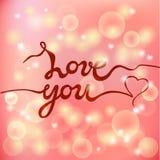 Älska dig bokstäver som isoleras på rosa suddig bakgrund Royaltyfria Bilder