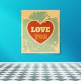 Älska dig den Retro affischen på väggen i rummet med det belade med tegel golvet Arkivfoton