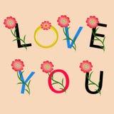 Älska dig text vektor illustrationer