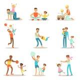 Älska fäder som spelar och tycker om pappan Tid för bra kvalitet med deras lyckliga barnuppsättning av tecknad filmillustrationer royaltyfri illustrationer