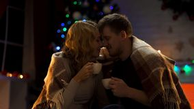 Älska frun och maken som dricker varm kakao under den hemtrevliga plädet och nuzzling, X-mas arkivfoto