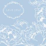 Älska hälsningkortet med blommor och den gulliga lilla fen. Arkivbild