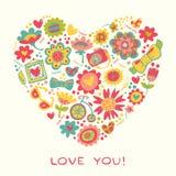 Älska hjärta som göras av blommor och innegrejsaker. Vektorillust vektor illustrationer