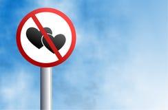 älska inget tecken Fotografering för Bildbyråer