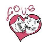Älska katter, katten, kattunge, den gulliga katten skissar vektorillustrationen Arkivfoto