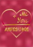 Älska kortet, inspirerande ord mig och dig som är enorm, valentinkortdesign Arkivbilder