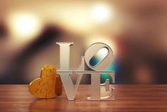 Älska meddelandet med hjärtafigursågen och gör suddig bakgrund för dag för valentin` s Royaltyfria Foton