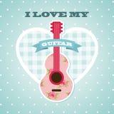 Älska min gitarr Royaltyfri Foto