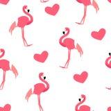Älska modellen med den gulliga flamingo och hjärtor på vit bakgrund Prydnad för textil och inpackning vektor Royaltyfria Bilder