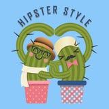 Älska par av hipsterkaktusarmen i arm Royaltyfria Bilder