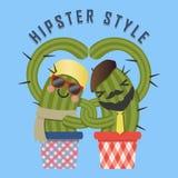 Älska par av hipsterkaktusarmen i arm Royaltyfri Illustrationer