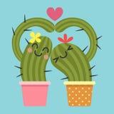 Älska par av kaktuns royaltyfri illustrationer