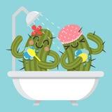 Älska par av kaktuns i badkar stock illustrationer