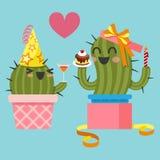 Älska par av kaktuns på födelsedagpartiet stock illustrationer