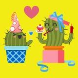 Älska par av kaktuns på födelsedagpartiet Royaltyfri Fotografi