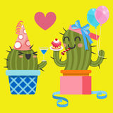Älska par av kaktuns på födelsedagpartiet royaltyfri illustrationer