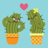 Älska par av kaktuns som tar bilder vektor illustrationer
