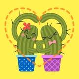 Älska par av kaktusarmen i arm royaltyfri illustrationer