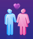 Älska par för Stick Royaltyfria Bilder