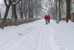 Älska par går tillsammans med på en tom gataillvilja av snö och förkylning Arkivfoto