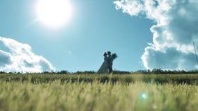 Älska par på en bakgrund av moln arkivfilmer