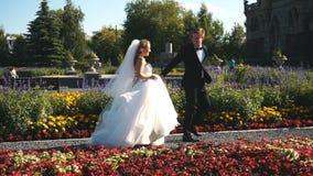 Älska par som går i parkera nära slotten stock video