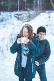 Älska par som har rolig det fria i vinter arkivbilder