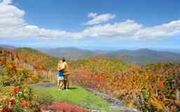 Älska par som tycker om härlig bergsikt Arkivbild