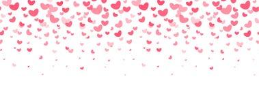 Älska partigarneringbeståndsdelar, fallande röda hjärtor Bröllopinbjudan, reklamblad, kortgräns Lycklig valentindagvektor Arkivbild