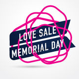 ÄLSKA SALE Memorial Day, symbolen Sale och specialt erbjudande också vektor för coreldrawillustration Arkivbild