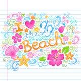 Älska semestern D för tropisk sommar för stranden den hawaianska vektor illustrationer