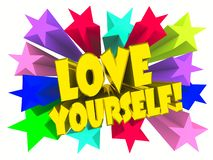 Älska sig slogan Guld- text med livliga stjärnor royaltyfria foton
