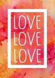 Älska vitt märka förestående målad varm bakgrund för vattenfärgen Göra perfekt för valentindagdesigner Arkivfoto