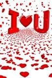 älskar fallande hjärtahjärtor för cupid red dig Arkivbild