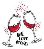 ` Älskar vi vin`-affischen med två vinexponeringsglas stock illustrationer