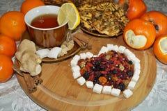 Älskling av torkat - frukt - te med kryddor, frukter och sötsaker Fotografering för Bildbyråer