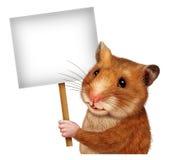 Älsklings- Hamster som rymmer ett blankt tecken Arkivfoto