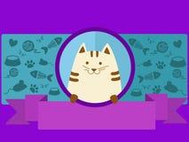 Älsklings- shoppa banret med katttecknad filmvektorn royaltyfri illustrationer