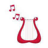 Älskvärd anmärkningsmusik för gullig harpa stock illustrationer