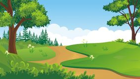 Älskvärd bakgrund för tecknad filmnaturlandskap Fotografering för Bildbyråer
