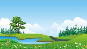 Älskvärd bakgrund för tecknad filmnaturlandskap Royaltyfri Fotografi