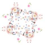Älskvärd bordduk Bandanatrycket med felika fåglar och rosa färger blommar royaltyfri illustrationer